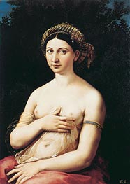 Portrait of a Young Woman (La Fornarina), c.1518/19 by Raphael | Painting Reproduction