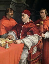 Portraits of Leo X, Cardinal Luigi de' Rossi and Giulio de Medici, c.1513/18 by Raphael | Painting Reproduction
