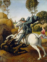 Saint George and the Dragon, c.1506 von Raphael | Gemälde-Reproduktion