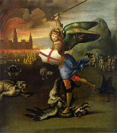 Saint Michael and the Dragon, c.1503/04 von Raphael | Gemälde-Reproduktion