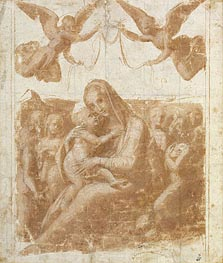 The Virgin and Child Surrounded by Angels, undated by Raphael | Painting Reproduction