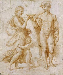 Mercury Offering the Cup of Immortality to Psyche | Raphael | Gemälde Reproduktion