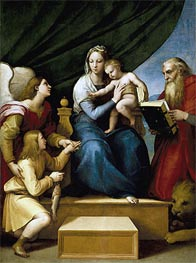 The Holy Family with Raphael, Tobias and Saint Jerome (The Virgin with a Fish), c.1513/14 by Raphael | Painting Reproduction