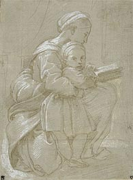 A Woman Seated on a Chair Reading with a Child | Raphael | Gemälde Reproduktion