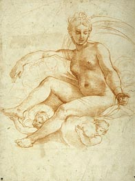 Venus Seated on Clouds, undated by Raphael | Painting Reproduction