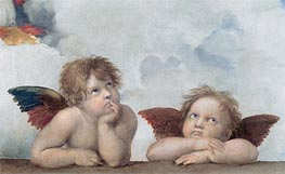 Putti (Detail from The Sistine Madonna) | Raphael | Painting Reproduction