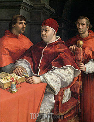 Portraits of Leo X, Cardinal Luigi de' Rossi and Giulio de Medici, c.1513/18 | Raphael | Painting Reproduction