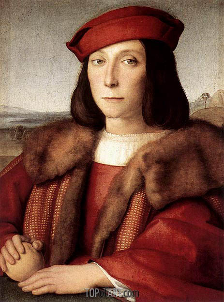 Young Man with an Apple, c.1504 | Raphael | Painting Reproduction