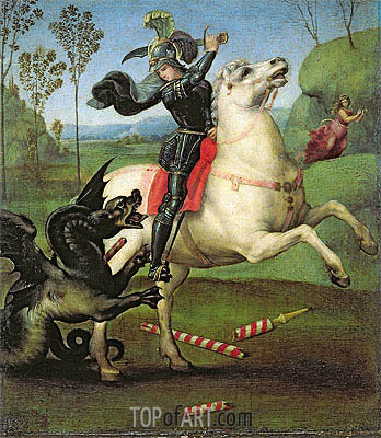 Saint George Fighting the Dragon, c.1504 | Raphael | Painting Reproduction