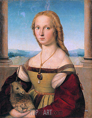 Lady with a Unicorn, c.1505/06 | Raphael | Gemälde Reproduktion