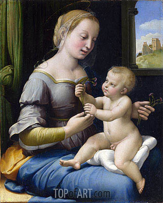 The Madonna of the Pinks (La Madonna dei Garofani), c.1506/07 | Raphael | Painting Reproduction