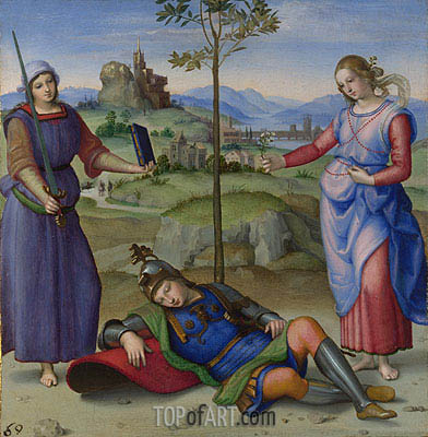 An Allegory (Vision of a Knight), c.1504 | Raphael | Gemälde Reproduktion