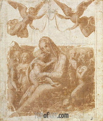The Virgin and Child Surrounded by Angels, undated | Raphael | Gemälde Reproduktion