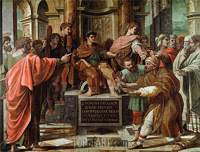 The Conversion of the Proconsul (The Blinding of Elymas), c.1515/16 | Raphael | Gemälde Reproduktion