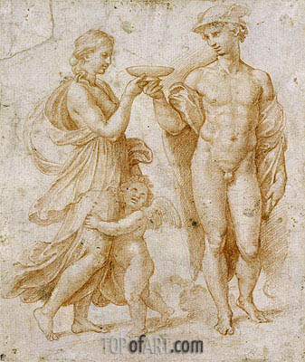 Mercury Offering the Cup of Immortality to Psyche, undated | Raphael | Gemälde Reproduktion