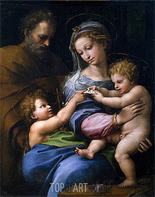 The Virgin with a Rose (The Holy Family with Little Saint John), c.1520 | Raphael | Gemälde Reproduktion