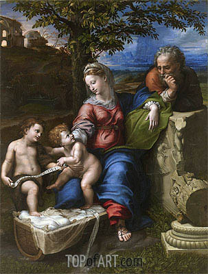 The Holy Family with an Oak Tree, c.1518 | Raphael | Gemälde Reproduktion