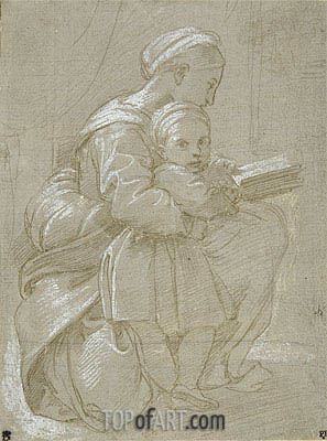 A Woman Seated on a Chair Reading with a Child, undated | Raphael | Gemälde Reproduktion