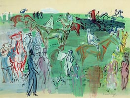 Racegoers on the Lawn, 1941 by Raoul Dufy | Painting Reproduction