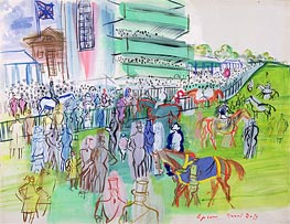 In Front of the Grandstand at Epsom, c.1937 von Raoul Dufy | Gemälde-Reproduktion