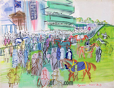 In Front of the Grandstand at Epsom, c.1937   Raoul Dufy   Painting Reproduction