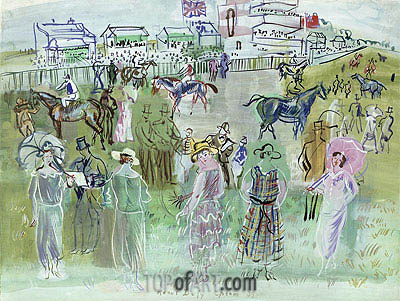 Elegant People at Epsom, 1939 | Raoul Dufy | Painting Reproduction