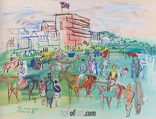 Front of the Grandstand, 1937   Raoul Dufy   Painting Reproduction