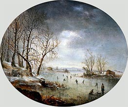 Winter Scene in New Jersey, 1847 by Regis-Francois Gignoux | Painting Reproduction
