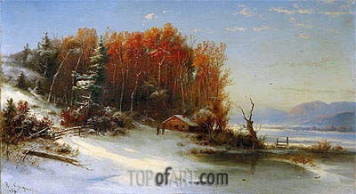 First Snow Along the Hudson, 1859 | Regis-Francois Gignoux | Painting Reproduction