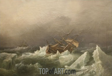 Antarctic Expedition: Gale in the Pack, 1842 | Richard Brydges Beechey | Painting Reproduction