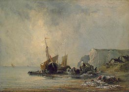 Boats near Shore of Normandy, c.1823/24 von Richard Parkes Bonington | Gemälde-Reproduktion