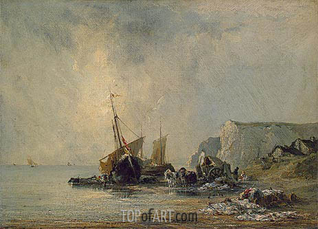 Boats near Shore of Normandy, c.1823/24 | Richard Parkes Bonington | Painting Reproduction
