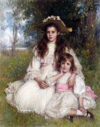 Portrait of Joyce and Monica Shaw, 1905 by Robert Edward Morrison | Painting Reproduction