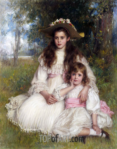 Portrait of Joyce and Monica Shaw, 1905 | Robert Edward Morrison | Painting Reproduction