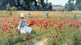 In Flanders Field-Where Soldiers Sleep and Poppies Grow | Robert Vonnoh | Painting Reproduction