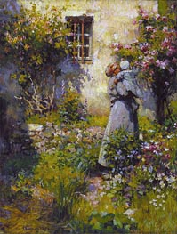 Jardin de paysanne (Peasant Garden), 1890 by Robert Vonnoh | Painting Reproduction