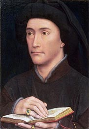 Portrait of a Man holding an Open Book (possibly Bishop Guillaume Fillastre), c.1437 von van der Weyden | Gemälde-Reproduktion