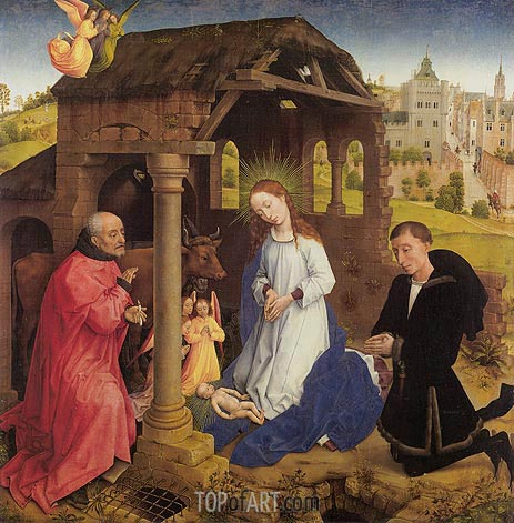 Nativity, central panel of Middelburg Altarpiece, c.1445/48 | van der Weyden | Painting Reproduction