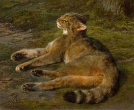 Wild Cat, 1850 by Rosa Bonheur | Painting Reproduction