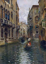 A Family Outing on a Venetian Canal | Rubens Santoro | Painting Reproduction