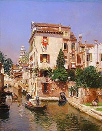 Gondoliers on a Venetian Canal | Rubens Santoro | Painting Reproduction