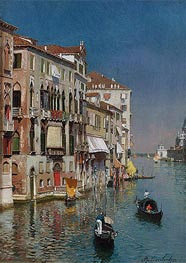 Gondolas at the Entrance to the Grand Canal | Rubens Santoro | Painting Reproduction
