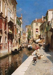 Women Walking beside a Venetian Canal | Rubens Santoro | Painting Reproduction
