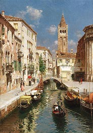 Gondolas on a Venetian Backwater | Rubens Santoro | Painting Reproduction