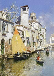 Gondolas on a Venetian Canal | Rubens Santoro | Painting Reproduction