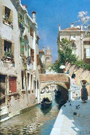 A Woman Carrying Water beside a Venetian Canal | Rubens Santoro | Painting Reproduction
