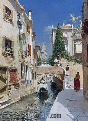 Venetian Canal with the Campanile of the Frari, Undated   Rubens Santoro   Gemälde Reproduktion