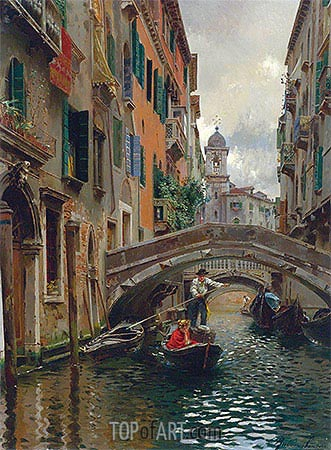 A Quiet Canal, Venice, undated | Rubens Santoro | Painting Reproduction