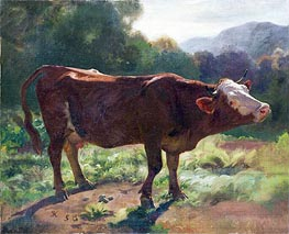 Standing Cow In Landscape, 1858 by Rudolf Koller | Painting Reproduction