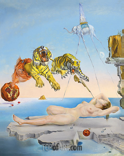 Dream caused by the Flight of a Bee around a Pomegranate a Second before Wakening up, 1944 | Dali | Painting Reproduction